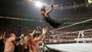 WWE MITB 2015  Roman Reigns flies