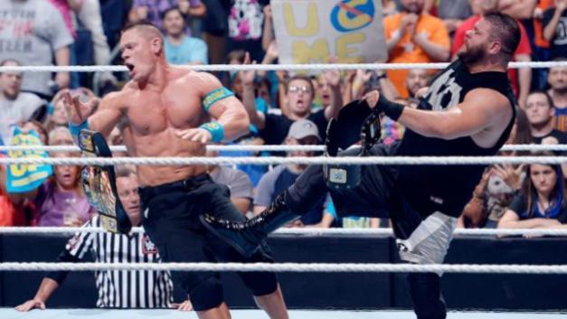 WWE Money in the Bank 2015 - Kevin Owens kicks Cena