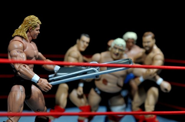 Lex Luger WWE Mattel Elite 30 figure -about to hit Dusty Rhodes with steel chair and Four Horsemen