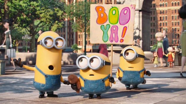 """(L to R) KEVIN, BOB and STUART are on a mission in """"Minions"""", Universal Pictures and Illumination Entertainment's comedy adventure in which the Minions try to save all Minionkind…from annihilation."""