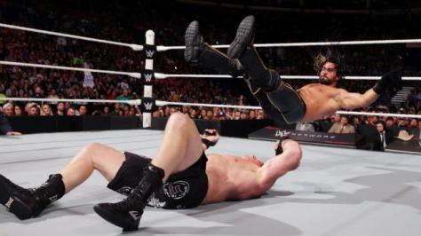 WWE Battleground - Brock Lesnar tosses Seth Rollins