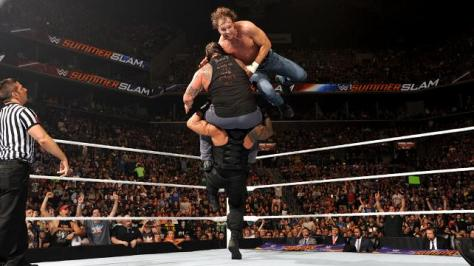 WWE Summerslam 2015 - Ambrose and Reigns Doomsday Device