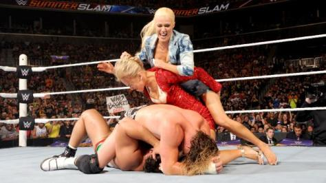 WWE Summerslam 2015 -Lana and Summer Rae brawl