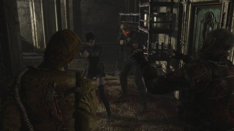 Resident Evil 0 - Albert Wesker fighting off enemies with Rebecca Chambers