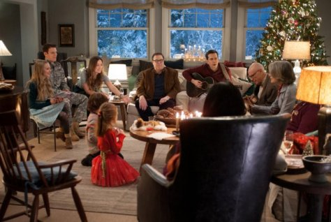 (Left to right) Amanda Seyfried, Jake Lacy, Olivia Wilde, Maxwell Simkins, Blake Baumgartner, John Goodman, Ed Helms, Alan Arkin, Diane Keaton and Alex Borstein (back to camera) in LOVE THE COOPERS to be released by CBS Films and Lionsgate.