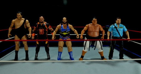WWE Mattel Earthquake -scale shot with Andre, Bam Bam, Yokozuna and Big Bossman